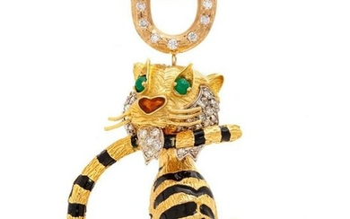 A Yellow Gold, Diamond, Gemstone and Enamel Tiger