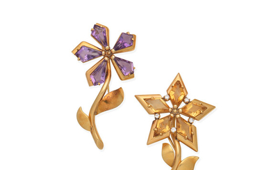 A citrine and diamond flower brooch and an amethyst flower brooch