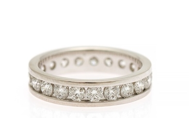 A full diamond eternity ring set with numerous brilliant-cut diamonds, totalling app. 1.47 ct., mounted in 18k white gold. W. 4 mm. Size 51.
