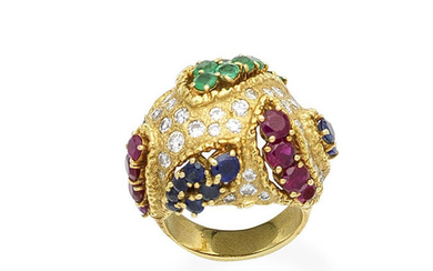 A gem-set bombé dress ring, circa 1970
