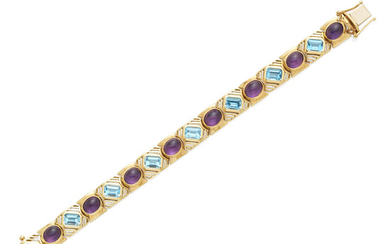A gold, amethyst and blue topaz bracelet