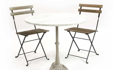 A marble topped table
