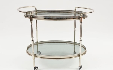 A metal and crystal serving trolley