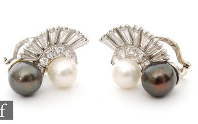 A pair of 18ct white gold cultured pearl and diamond set cli...