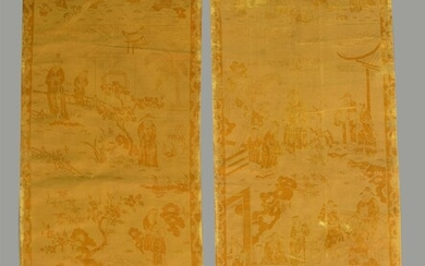 A pair of Chinese yellow silk cut velvet wall panels