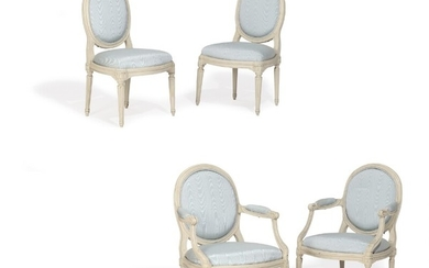 A pair of French whitepainted Louis XVI armchairs and chairs. Signed Nadal. Maker Jean-René Nadal, 1733–1783. (4)
