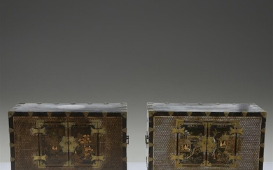A pair of Korean mother of pearl-inlaid lacquered wood...