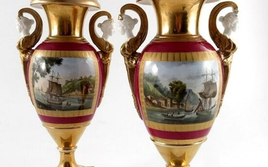 A pair of Paris porcelain twin handled vases, 19th
