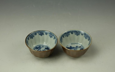 A pair of chinese Blue and White Porcelain Cup,17th