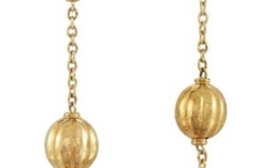 A pair of double orb drop earrings,...