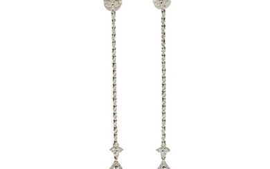 A pair of ear pendants each set with a marquise-cut diamond and numerous brilliant-cut diamonds, mounted in 18k white gold. L. 7.1 cm. (2)