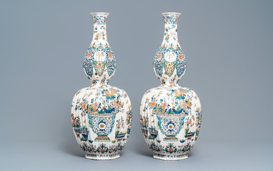 A pair of exceptional large ribbed Dutch Delft cashmere palette vases with flower vases, ca. 1700