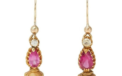 A pair of gem-set pendant earrings.