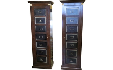 A pair of modern Directoire style fruitwood cabinets