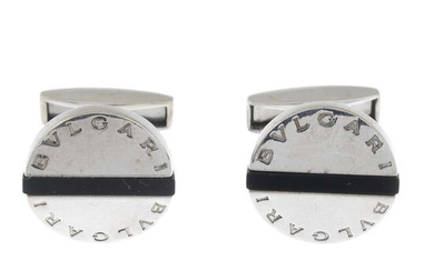 A pair of onyx 'Pan Coupe' cufflinks, by Bulgari.