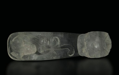 A rock crystal buckle, China, Qing Dynasty, 1800s