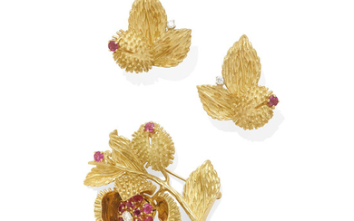 A ruby and diamond brooch and ear clip set