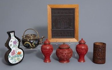 A varied collection Chinese items: a tea block,...