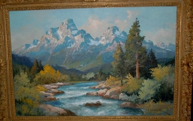 ALEXANDER DZIGURSKI GRAND TETON, WYOMING OIL PAINTING