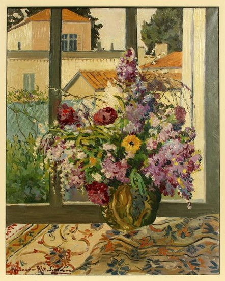ALEXANDRE ALTMANN OIL ON CANVAS, VASE OF FLOWERS