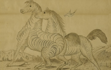 AMERICAN SPENCERIAN CALLIGRAPHIC DRAWING OF TWO HORSES, 19TH CENTURY