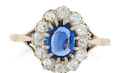 AN ANTIQUE SAPPHIRE AND DIAMOND CLUSTER RING in yellow