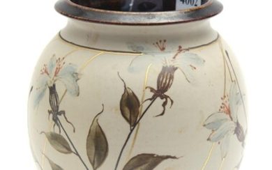 AN AUSTRALIAN HANDCRAFTED CERAMIC VASE BY PETER MINKO, HAND-PAINTED WITH METALLIC OXIDES AND FIRED A THIRD TIME WITH APPLIED GOLD FE...