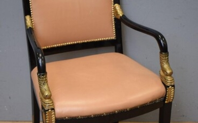 AN EBONISED EMPIRE STYLE CHAIR WITH CARVED DOLPHIN MOTIF (H91 X W59 X D58 CM) (LEONARD JOEL DELIVERY SIZE: LARGE)