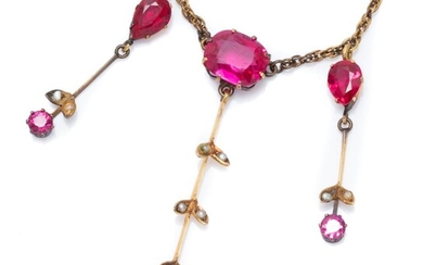 AN EDWARDIAN GEMSET GILT NECKLACE; featuring 3 bar drops, 55 & 30mm set with round, cushion, pear and oval cut synthetic rubies and...