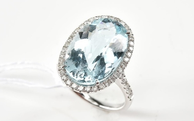 AN OVAL CUT AQUAMARINE AND DIAMOND CLUSTER RING IN 18CT WHITE GOLD, APPROXIMATE AQUAMARINE WEIGHT 10.37CTS, APPROXIMATE TOTAL DIAMOND..