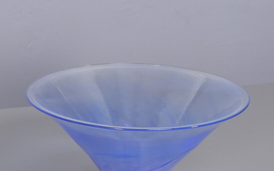 ANDERS WIINGÅRD. Bowl on foot, blue tinted art glass.