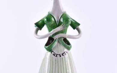 Advertising figure Carven Parfum   Marketing Figure, Carven Parfum ,dated 1952, on the floor marked V. Guino 1952 Parfums Carven jar and artist signature, ceramic mannequin handpainted, at the hip two openings for perfume bottles, h 34 cm_x000D_