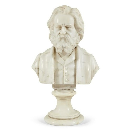 American School 19th century, Small marble bust of
