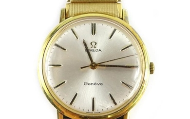 An Omega Geneve gentleman's wristwatch, with circular silvered dial,...