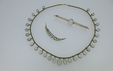 An antique moonstone fringe necklace together with two