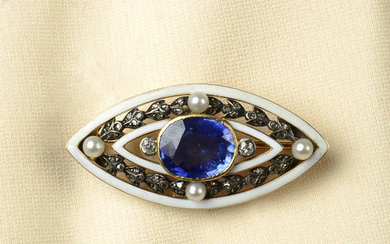 An early 20th century gold sapphire, diamond, seed pearl and white enamel brooch.