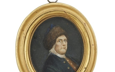 Anglo-Continental School 18th/19th century Portrait miniature of Benjamin Franklin...