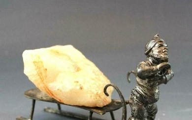 Antique c1900 German Silver Plate Figure Gnome Pulling