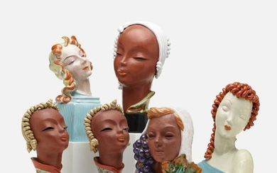 Art Deco, collection of six female busts
