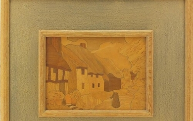 Arts & Crafts Rowley Gallery wooden marquetry panel, Cottag...