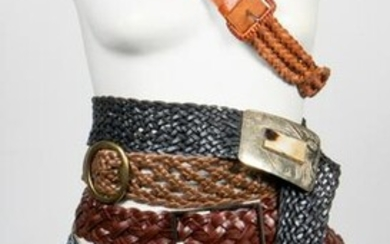 Assorted Woven Leather Belts, Group of 5