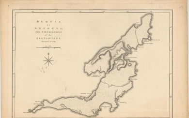 """Bequia or Becouya, the Northernmost of the Granadilles, Surveyed in 1763"", Jefferys/Sayer"