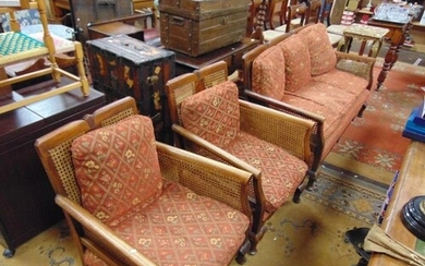 Bergere three piece lounge suite, comprising three seater se...