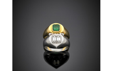 Bi-coloured gold double hinged ring with two step cut diamonds...