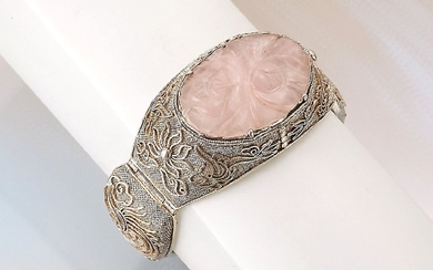 Bracelet with rose quartz, silver , China...