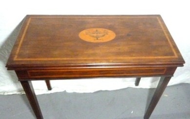 C19th Mahogany Card Table with rectangular fold-over top, on...