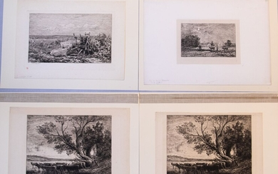 """CHARLES FRANCOIS DAUBIGNY (FRENCH, 1817-78) ETCHINGS WITH DRYPOINT, ON VARIOUS PAPERS, H 5.375-10"""", W 8.625-13.25"""""""