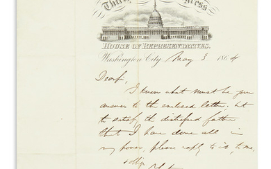 (CIVIL WAR.) COLFAX, SCHUYLER. Brief Autograph Letter Signed, to Colonel W[illiam?] Hoffman