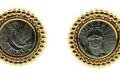 COOL Platinum & Gold Liberty Coin Earrings