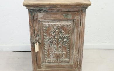 Carved Single Door Cabinet Made From Reclaimed Wood